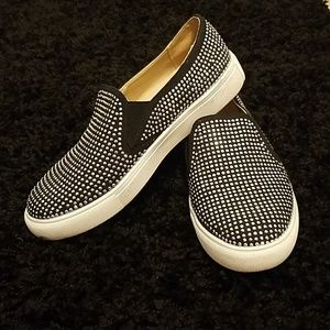 Wanted black sparkly slip ons